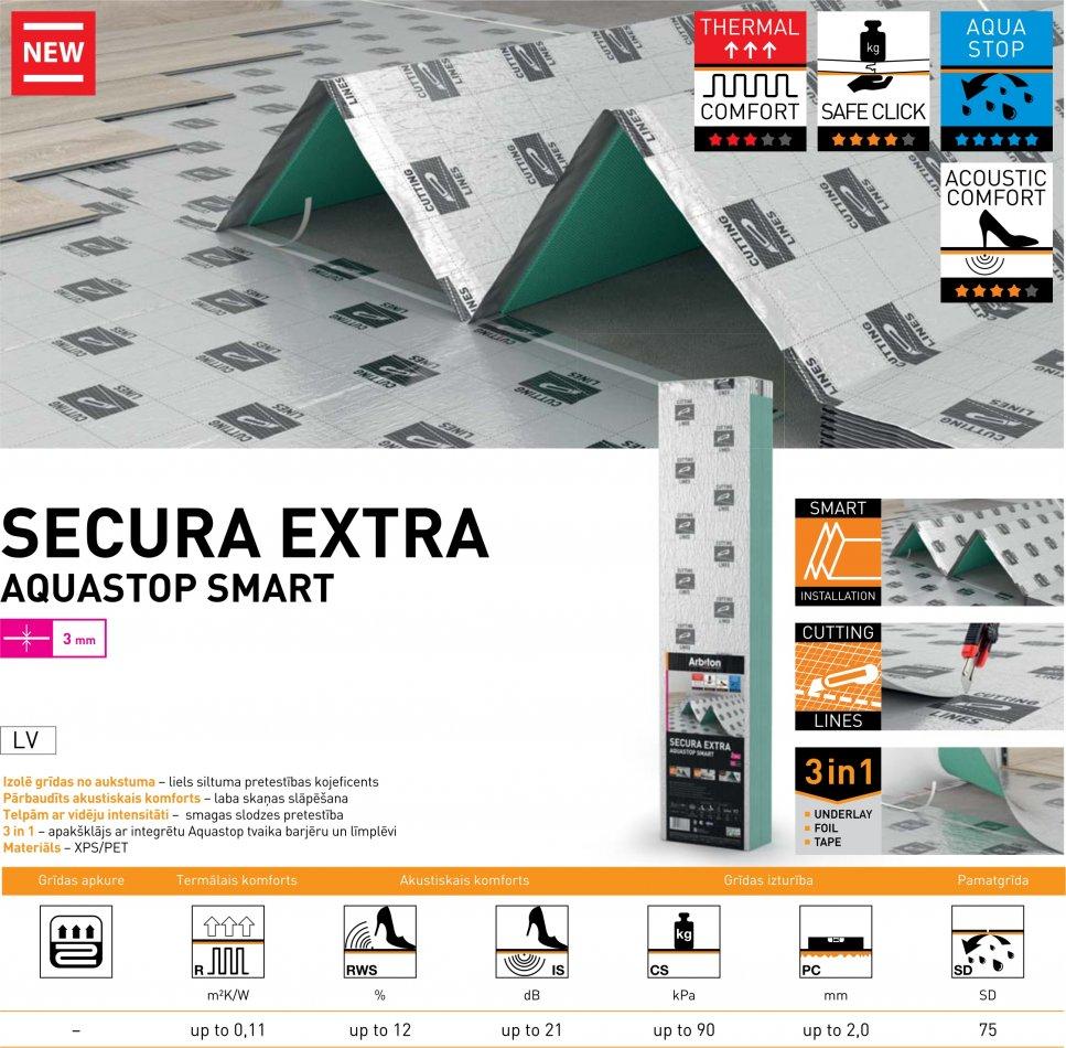Apakšklājs Secura Extra Aquastop Smart 3mm